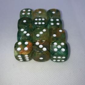 Double D20 VERT et BLANC (Spéciaux/Chessex)