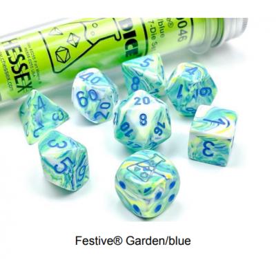 Dés Signature - Festive - Garden - Bleu - Chessex
