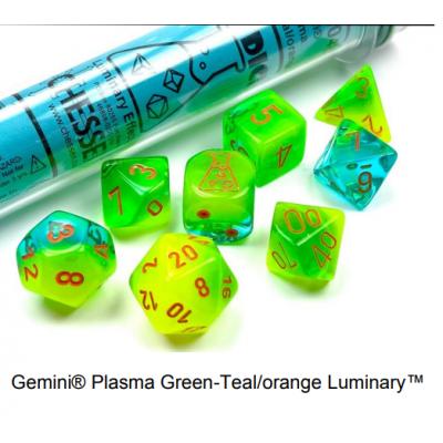Dés Signature - Gemini  Luminary - Vert Plasma- Sarcelle - Chessex