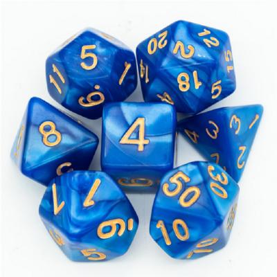 Dés Marbrés - Bleu - Doré - Udixi
